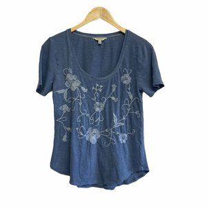 LUCKY BRAND Embroidered Short Sleeve Tee Shirt